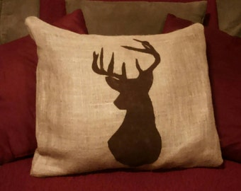 Deer Pillow, Burlap Deer Pillow, Buck Pillow, Burlap Pillow, Deer silhouette pillow, Hunter Pillow, Outdoorsman pillow, Country Primitive