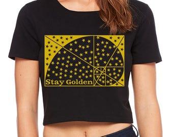 Women's STAY GOLDEN Sacred Geometry CROP Tee Golden Ratio Belly Shirt