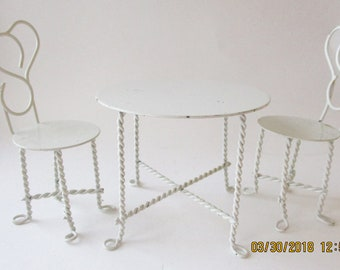 Vintage Dollhouse Furniture White Table & Chairs