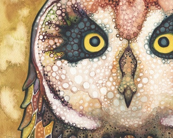 Sacred Hawaiian Pueo Owl 8.5 x 11 print, earth tone palette with mustard yellow, animal totem, spirit animal painting