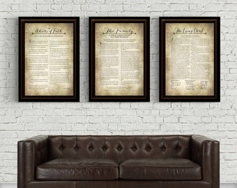LDS-Family Proclamation-Living Christ & Articles of Faith set-Multiple Sizes including large format available
