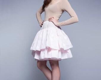 Cotton petticoat 1950 petticoat Pink underskirt Retro petticoat Pink crinoline Pink underwear Pink polka dot skirt Midi skirt Handmade