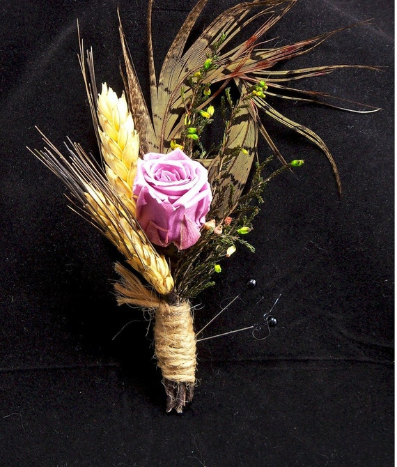 Lavender Rose with Pheasant Feather