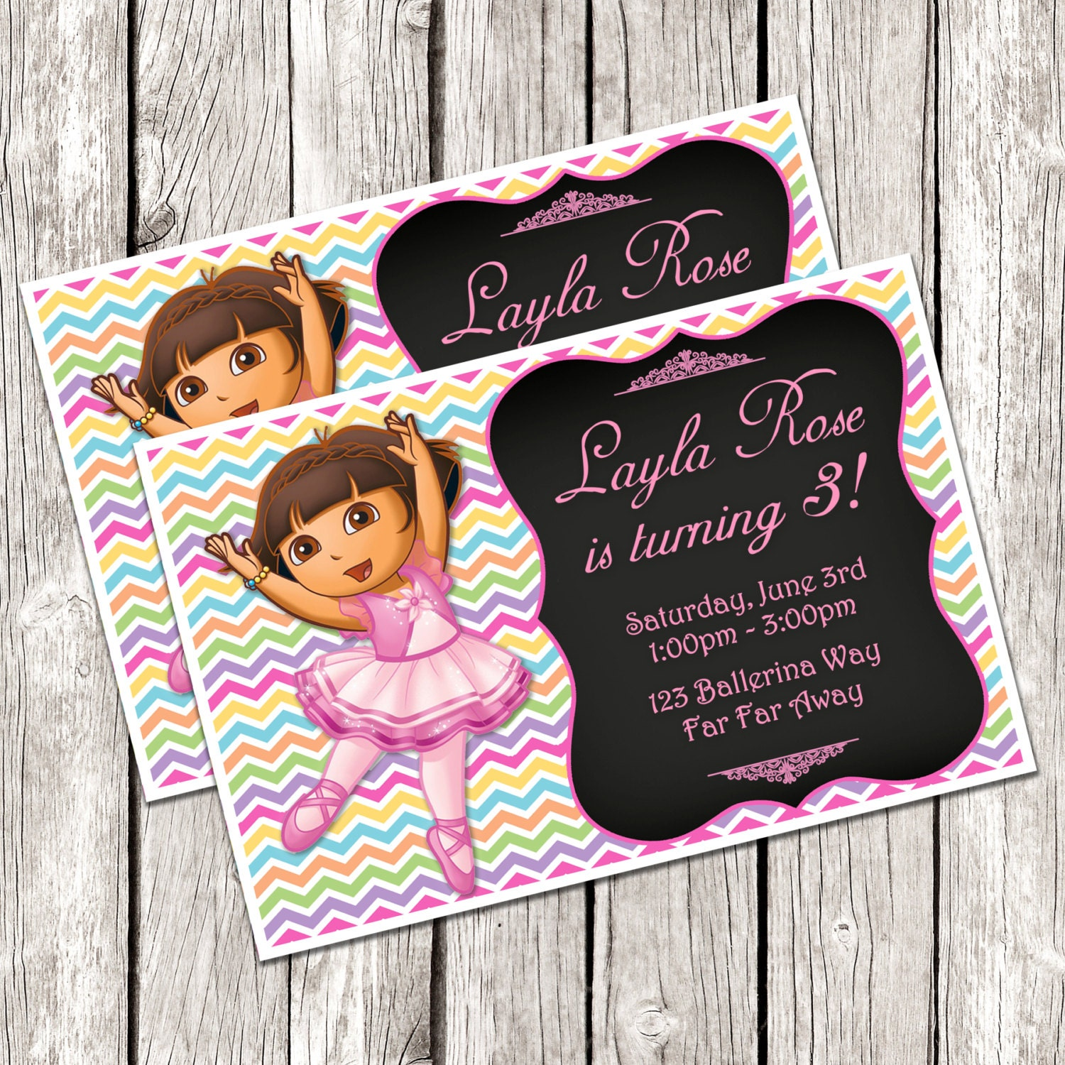 Dora Ballerina Invitation Dora the Explorer Birthday Party