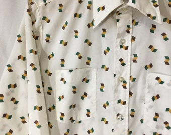 70's M White/Green/Yellow/Brown Patterned Long Sleeve Button Down Winchester Shirt