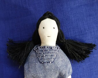 Handmade linen Cloth doll - Modern Cloth Rag Doll - Handmade Embroidery Doll
