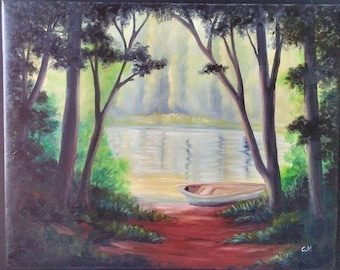 """Oil Painting Canoe By the River 11"""" x 14"""", Ready to Ship"""