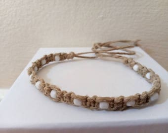 Tie-on Hemp Bracelet Ankle Bracelet Handmade, Hemp Necklace, Beaded Anklet, Mens Jewelry, Summer Jewelry, Ankle Bracelet, Hemp Anklet, Hemp.