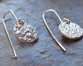 sterling silver round dangle earrings |  reticulated silver | textured silver earrings | recycled sterling silver dangle earrings |