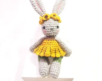 Sunflower Bunny Rabbit - Crocheted Bunny Doll - Sunflower Amigurumi - Flower Nursery Decor - Summer Crochet - Amigurumi - MADE TO ORDER