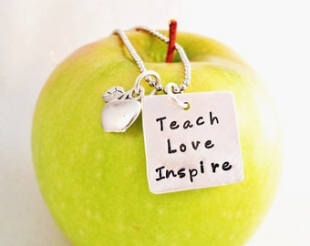 Teacher Necklace - Teacher Apprication Gift -  Gift for Teacher - Personalized necklace for teacher - Hand Stamped
