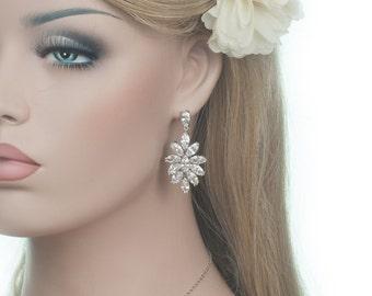 Cubic Zirconia Drop Earrings, Wedding Earrings, Vintage Inspired,  Cubic Zirconia Bridal Earrings, Sparkly Earrings, CZ Dangle Earrings
