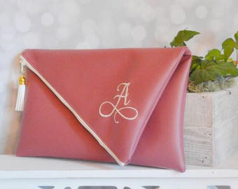 Dusty rose bridesmaid clutch - fold over clutch - personalized leather handbag - monogram clutch - zipper clutch - christmas gift for her