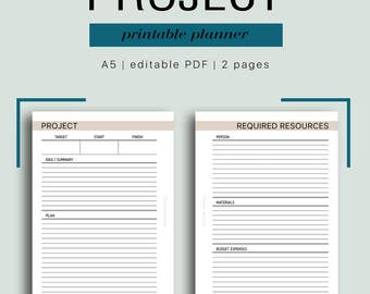 A5 Project Planner - Editable Project Planning, Project Management, GTD Project, Project Budget, 2 pages // Business PDF Printable