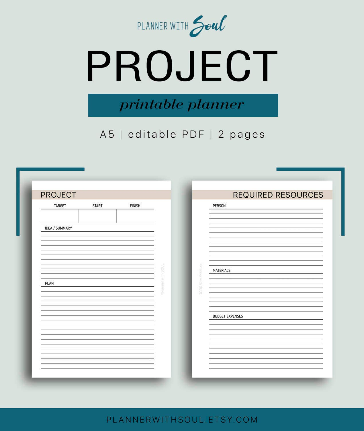 A5 project planner editable project planning project zoom pronofoot35fo Choice Image