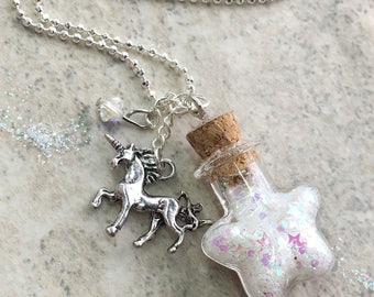 Unicorn Necklace, Unicorn Gift, Unicorn Glitter Necklace, Unicorn Sparkle, Unicorn Magic, Unicorn Dust