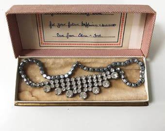 Beautiful 1950s Paste Crystal Necklace in Original Box
