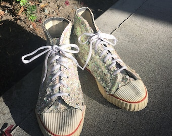Authentic original vintage 1980's sequin high top running shoes