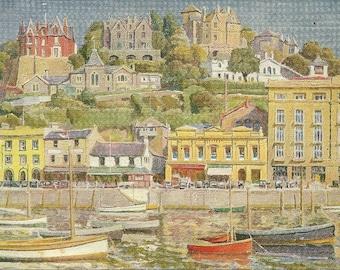 Vintage 1940s Postcard Vane Hill Torquay Devon UK England Cornish Riviera Press Herbert Truman Scenic Painting Art Card Postally Unused