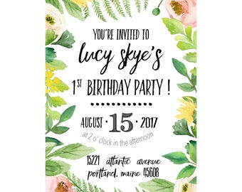 floral party invitation, birthday party invitation, bridal shower invitation, baby shower invitation, digital download customized invitation