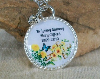 In Loving Memory Necklace, Personalized Sympathy Gift, Loss of a Loved one, RIP, Never Forgotten Pendant Handmade