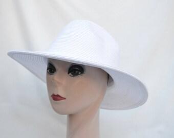 Fedora Sun Hat / Womens Straw Fedora White Brim Hat / PackableTravel Hat /  Crushable Sun Hat / Summer Fedora Hat
