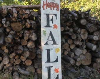 Wooden Sign - FALL - Happy FALL - Vertical  - Autumn - Rustic - Pallet - Porch Decor -