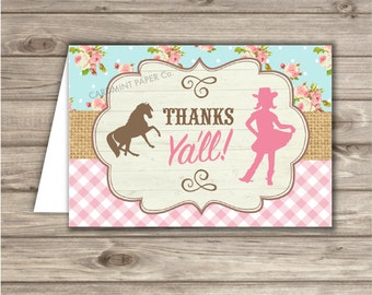 Cowgirl Horse Birthday Thank You Cards TN777
