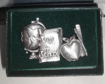Silver Tone School Teacher/ Apple/Globe/Hat Pin