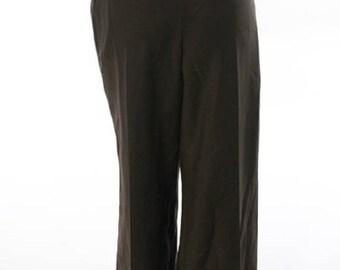 CAROLINA HERRERA chocolate brown mohair and wool blend trousers,