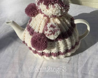 Knitted Pom pom tea cosy for 4-6 cup pot other colours available. Hand knitted, Mother's Day, gift