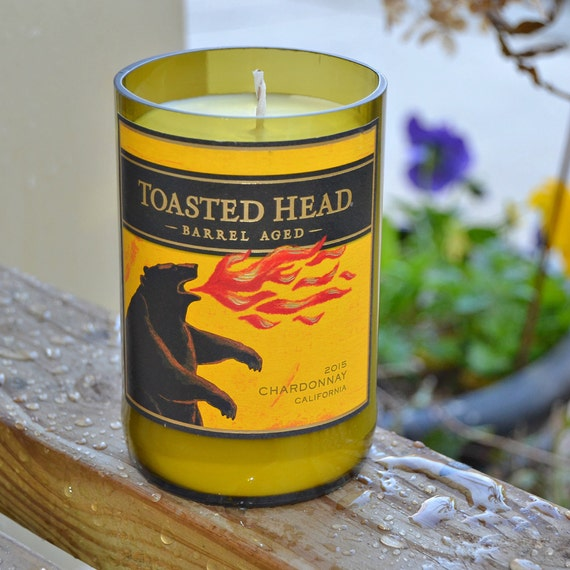 Toasted Head Chardonnay wine bottle upcycled into a candle made with soy wax