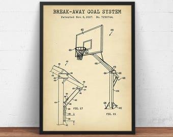 Basketball patent print sports ball blueprint art digital basketball patent prints break away goal system digital download basketball poster printable malvernweather Choice Image