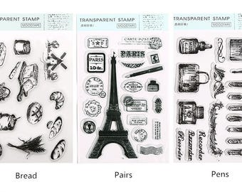 Vintage Style Clear Stamp Set #3 - Bread, Tower, Pens, Planner, Journal, Craft, Scrapbooking, Decoration