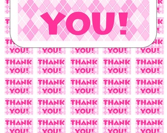 """50 Argyle Pink and White Thank You Envelope Seals / Labels / Stickers, 1"""" by 1.5"""""""