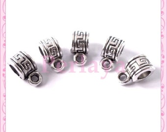 Set of 25 clasps REF320X5 silver charms
