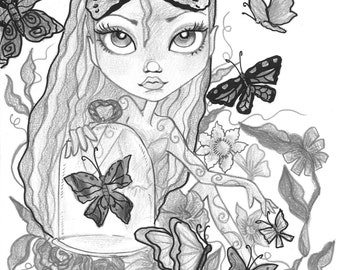 Adult Coloring Page - Grayscale Coloring Page - Printable Coloring Page - Digital Download - Fantasy Art - Butterfly Girl by Leslie Mehl Art