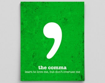 Digital Download, Comma Grammar Poster, Classroom Decor, Printable Office Decor, Printable Art, Teacher Prints, Affordable Teacher Gifts