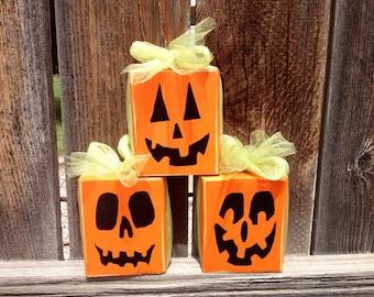 Halloween wood pumpkins-- Trio Pumpkin, Jack O Lanterns, Pumpkin blocks