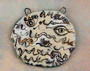 Handmade ceramic glazed pendant painterly neckpiece art beads painterly