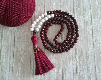 108 Mala Bead, Handmade Jewelry, Bohemian Jewelry,  YOGA Mala Necklace, Mala Bead, Wood Bead Mala, Bead Tassel Necklace, Yoga Beads