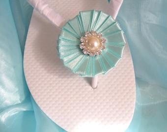 Tiffany Blue Bridal Flip Flops / Wedding Flip Flops,Bridesmaids, Flower girls, Bridal Shower