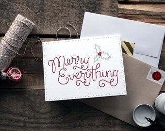 Merry Everything Hand Lettered Holiday Card