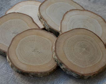 6 pieces of Oak Slices Oak Wood Slices Oak Drink Coaster Rustic Table Decor Rounded Oak Coasters