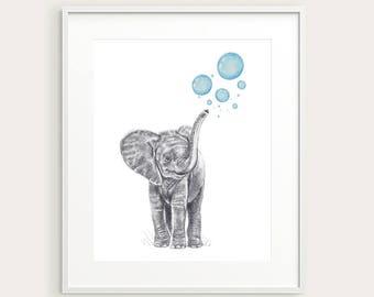 Elephant.Nursery Decor. Baby Animal. Nursery Art. Baby's Room Decor. Baby Penguin. Animal Drawing. Kid's Wall Art. Kid's Decor. Baby Art.