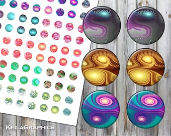 Digital Collage Sheet - Instant Download - Circle Size 16mm + 14mm + 12mm + 10mm Printable Images - Fractal Swirls