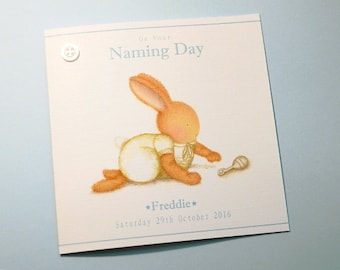 Personalised Naming Day/Christening/Baptism Bobby Bobby Card -Bobby Bunny and Friends Illustrated Luxury Card Range by Jennifer Keelan