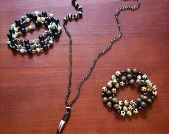 Smokey quartz necklace with bone pendant
