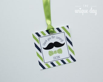 Little man birthday favor tags - stickers - thank you tags - goodie bag tag - PERSONALIZED - mustache birthday - printable  - DIY // MUST-04