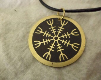 Etched brass Viking Helm Of Awe pendant